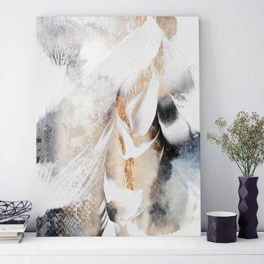 Quadro in vetro - Oro pittura astratta inverno - Verticale 4:3