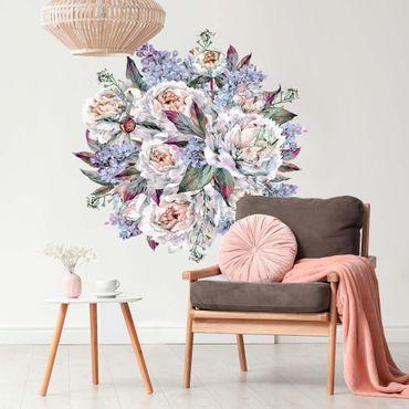 Adesivo murale - Acquerello lilla Peony Bouquet XXL