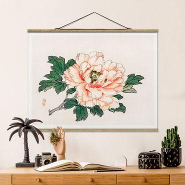 Foto su tessuto da parete con bastone - Asian Vintage Disegno rosa crisantemo - Orizzontale 3:4