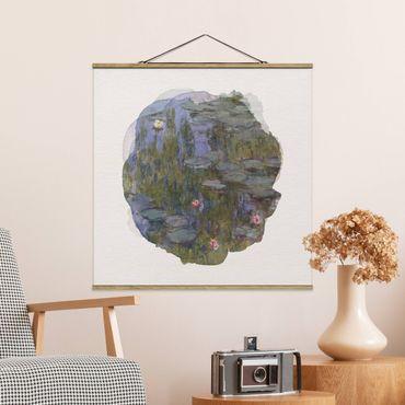 Foto su tessuto da parete con bastone - Acquerelli - Claude Monet - Ninfee (Nympheas) - Quadrato 1:1
