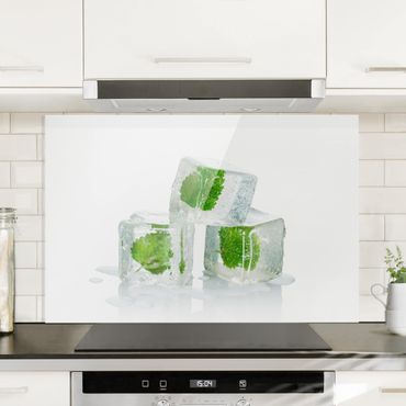 Paraschizzi in vetro - Three Ice Cubes With Lemon Balm - Orizzontale 2:3