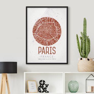 Poster con cornice - Paris City Map - Retro - Verticale 4:3