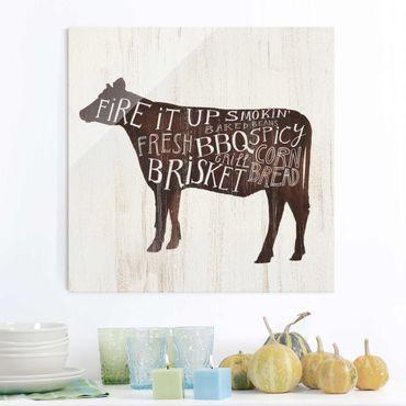 Quadro in vetro - Farm BBQ - Cow - Quadrato 1:1