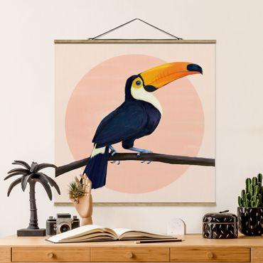 Foto su tessuto da parete con bastone - Laura Graves - Illustrazione Uccello Toucan pastello pittura - Quadrato 1:1