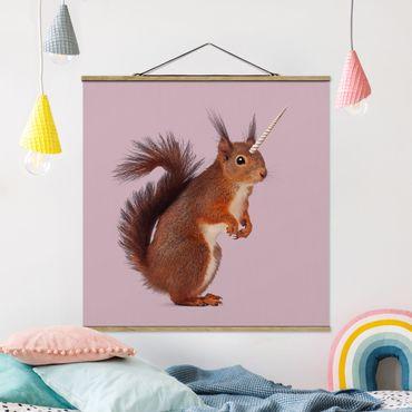 Foto su tessuto da parete con bastone - Unicorn Squirrel - Quadrato 1:1