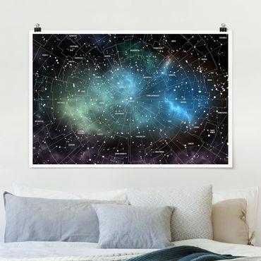 Poster - Costellazioni Mappa Galaxy Nebbia - Orizzontale 2:3