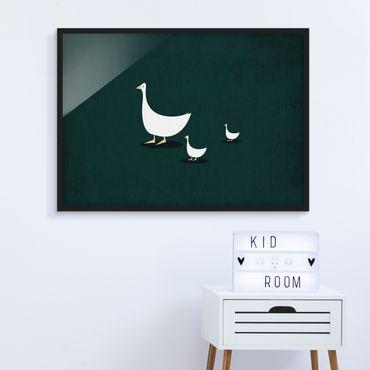 Poster con cornice - Famiglia di oche a spasso