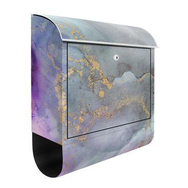 Cassetta postale - Esperimenti di colore marmo rosa arcobaleno e oro
