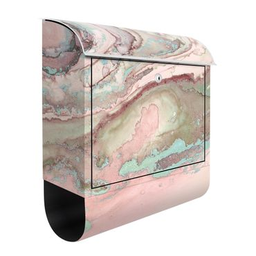 Cassetta postale - Esperimenti di colore marmo rosa e turchese