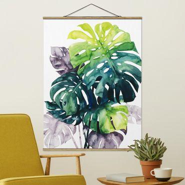 Foto su tessuto da parete con bastone - Exotic Foliage - Monstera - Verticale 4:3