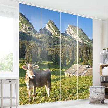 Tende scorrevoli set - Swiss Alpine Meadow With Cow