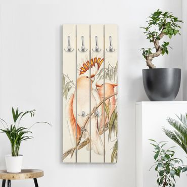 Appendiabiti in legno - Vintage Illustrazione Galah - Ganci cromati - Verticale