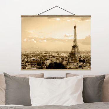 Foto su tessuto da parete con bastone - I Love Paris - Orizzontale 3:4