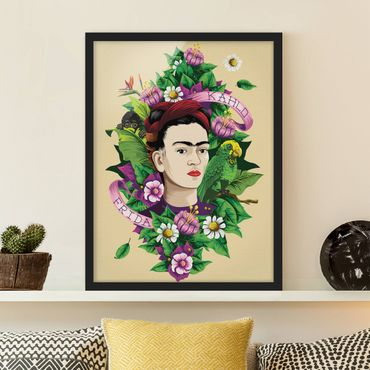 Poster con cornice - Frida Kahlo - Frida, Monkey And Parrot - Verticale 4:3