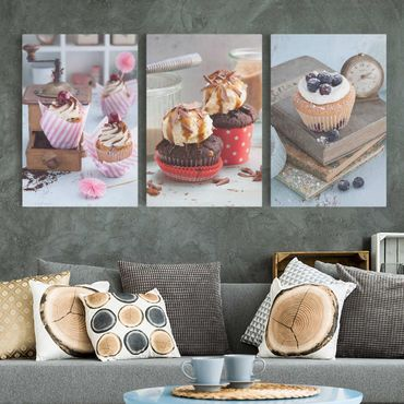 Stampa su tela 3 parti - Vintage Cupcakes with topping - Verticale 3:2