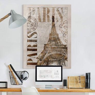 Stampa su tela - Shabby Chic Collage - Parigi - Verticale 4:3