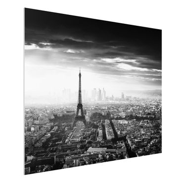 Quadro in forex - La Torre Eiffel From Above Bianco e nero - Orizzontale 4:3