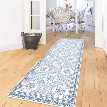 Tappeti in vinile - Trama di piastrelle floreali grigio-azzurro con bordo - Pannello