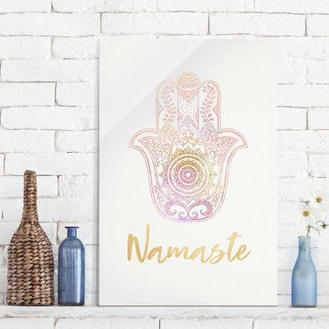 Quadro in vetro - Illustrazione Hamsa mano Namaste oro rosa - Orizzontale 2:3