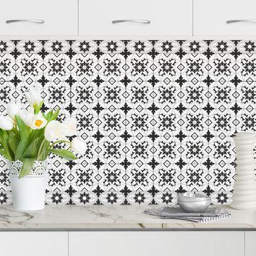 Rivestimento cucina - Piastrelle geometriche mix fiori nero