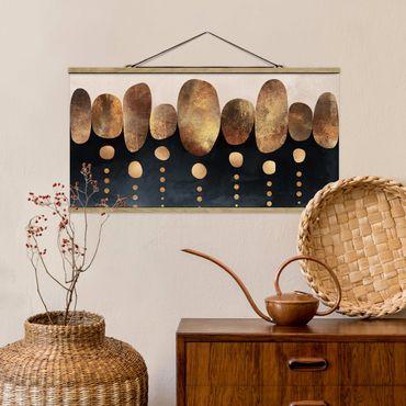 Foto su tessuto da parete con bastone - Elisabeth Fredriksson - Astratte Golden Stones - Orizzontale 1:2