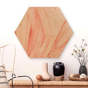 Esagono in legno - Palm foglie di colore rosa