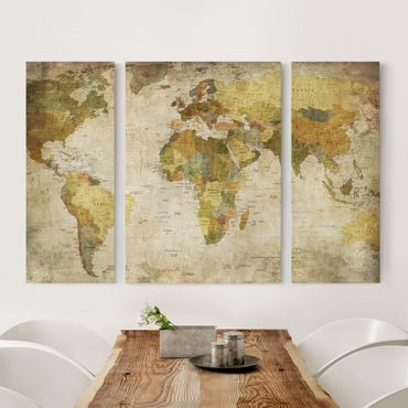 Stampa su tela 3 parti - Map Of The World - Trittico