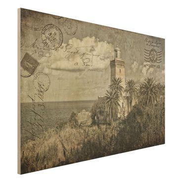Stampa su legno - Cartolina con faro e Palme - Orizzontale 2:3
