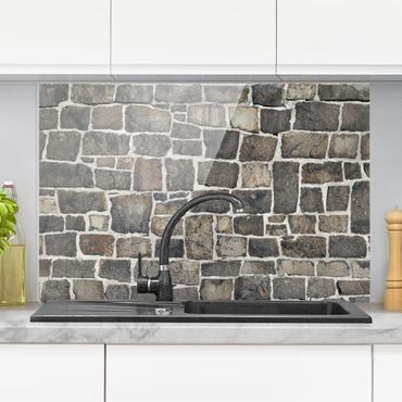 Paraschizzi in vetro - Crushed Stone Wallpaper Stone Wall