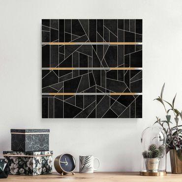 Stampa su legno - Elisabeth Fredriksson - Bianco e nero geometrico Acquarello - Quadrato 1:1