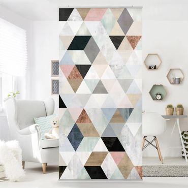Tenda a pannello - Acquerello mosaico triangoli con I - 250x120cm