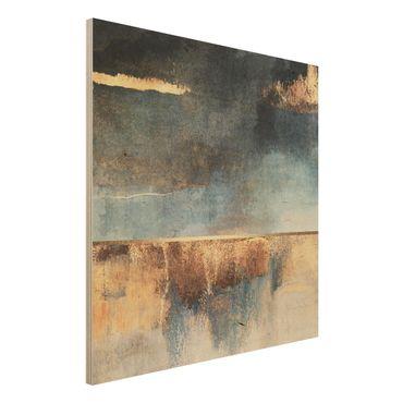 Stampa su legno - Estratto Lakeshore In Oro - Quadrato 1:1