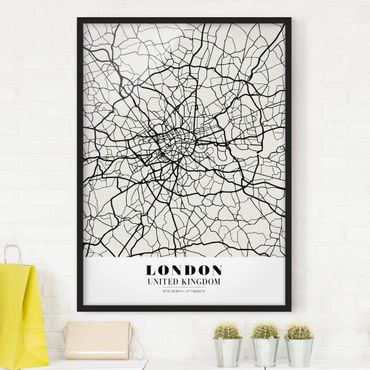 Poster con cornice - London City Map - Classic - Verticale 4:3