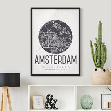 Poster con cornice - Amsterdam City Map - Retro - Verticale 4:3