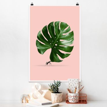Poster - Jonas Loose - Ant con Leaf Monstera - Verticale 3:2