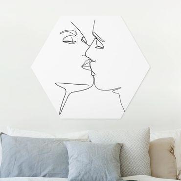 Esagono in forex - Line Art bacio Faces Bianco e nero