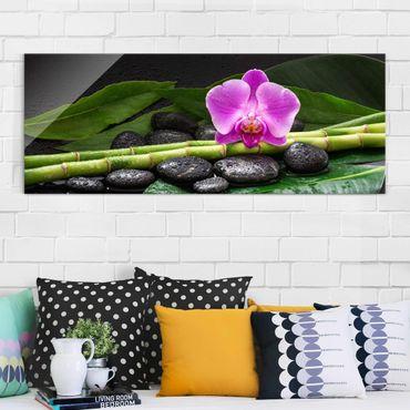 Quadro in vetro - Green Bamboo Con L'orchidea Blossom - Panoramico