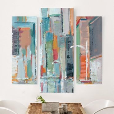 Stampa su tela - Downtown I contemporanea - Trittico da galleria