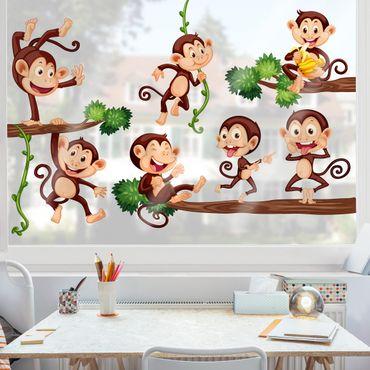 Adesivi da finestra Monkey Family