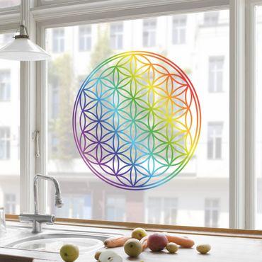 Adesivi da finestra Flower of Life rainbow color
