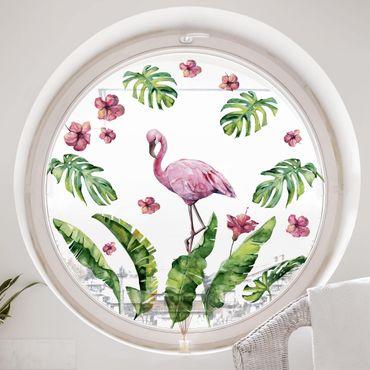 Adesivi da finestra - Jungle Flamingo Leaves Set