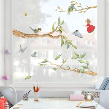 Adesivi da finestra - The Strawberry Fairy - With Tree Fairy And Heupferd