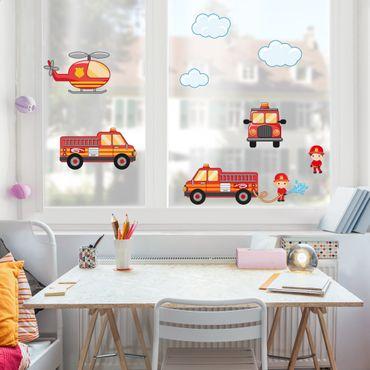 Adesivi da finestra Firefighter Set with Vehicles