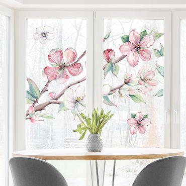 Adesivi da finestra - Cherry Blossom Branch Watercolor