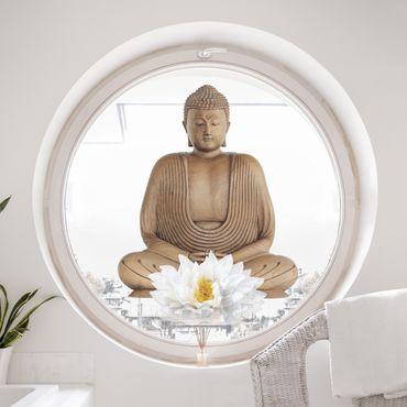 Adesivi da finestra Buddha in legno fiore di loto