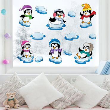 Adesivi da finestra Pinguini inverno set