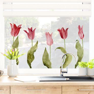 Adesivi da finestra - Red Tulips Watercolor