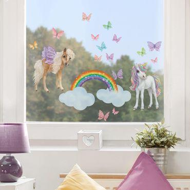 Adesivi da finestra - Set Unicorni E Farfalle