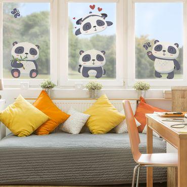 Adesivi da finestra - Sweet Panda Bear Set