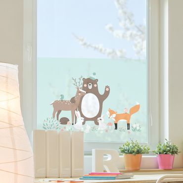 Decorazione per finestre Forest Friends with forest animals blue